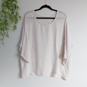 (Made in Italy) Cream Linen Blouse 3/4 Sleeves